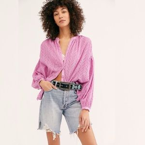 NWT Free People Maddison Eyelet Blouse In Orchid